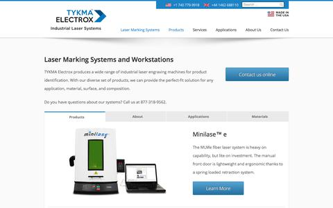 Screenshot of Products Page permanentmarking.com - Laser Marking Systems | Laser Marking System | TYKMA - captured July 7, 2018