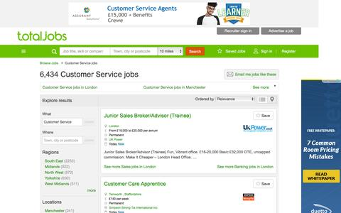 Screenshot of Support Page totaljobs.com - Customer Service jobs & recruitment on Totaljobs.com - captured Dec. 2, 2015
