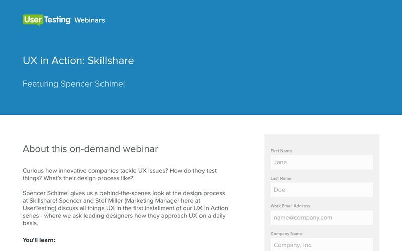 OnDemand Webinar: UX in Action: Skillshare | UserTesting