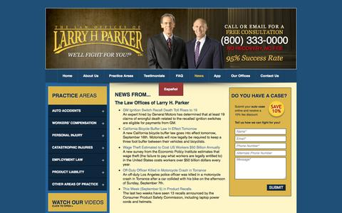 Screenshot of Press Page larryhparker.com - Legal News About Personal Injury Law & Accident Litigation in Los Angeles CA, Long Beach & Phoenix: The Law Offices of Larry H. Parker - captured Sept. 18, 2014