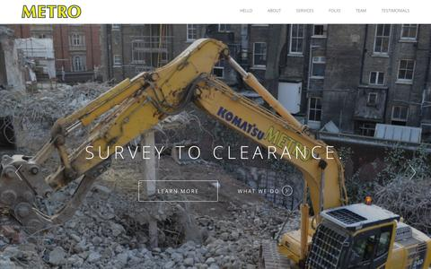 Screenshot of About Page Services Page Team Page Testimonials Page gridhosted.co.uk - Metro Deconstruction Services | Demolition, asbestos removal and remediation specialists - captured Feb. 13, 2016