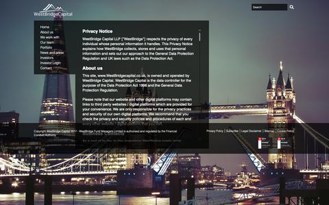 Screenshot of Privacy Page westbridgecapital.co.uk - Privacy Policy | WestBridge Capital - captured Oct. 18, 2018