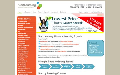 Screenshot of Home Page start-learning.co.uk - Distance Learning Courses - Home Learning - StartLearning - captured Sept. 26, 2014