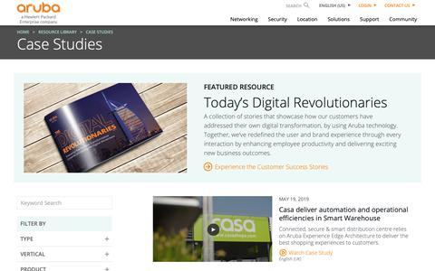 Screenshot of Case Studies Page arubanetworks.com - Case Studies | Aruba - captured May 22, 2019