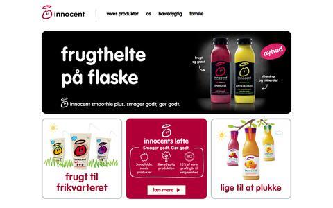 Screenshot of Home Page innocentdrinks.dk - Innocent drinks - velkommne til innocent smoothies - captured Jan. 28, 2015