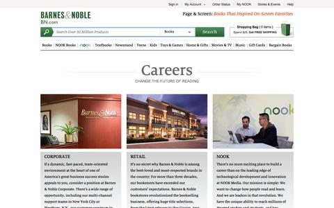 Screenshot of Jobs Page barnesandnoble.com - Careers - Barnes & Noble - captured Oct. 10, 2014