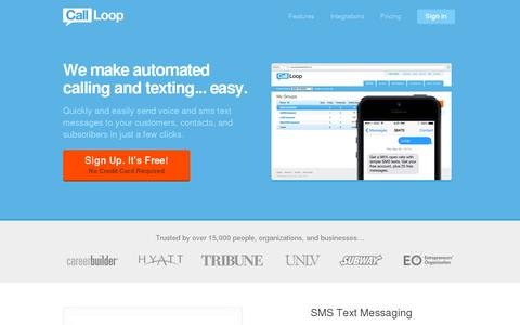 Screenshot of Home Page callloop.com - SMS Marketing   Text Message Marketing   Voice Broadcasting - captured July 11, 2014