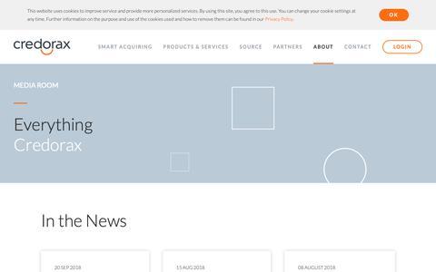 Screenshot of Press Page credorax.com - Media Room | Credorax | Smart Acquiring - captured Nov. 4, 2018