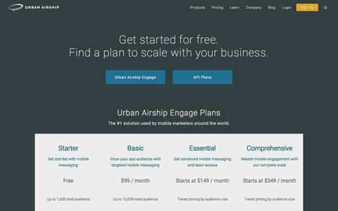 Screenshot of Pricing Page urbanairship.com - Mobile Engagement Packages | Urban Airship - captured May 15, 2016