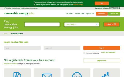Screenshot of Login Page renewableenergyjobs.com - Recruiter Section | Renewable Energy Jobs - captured Sept. 22, 2018