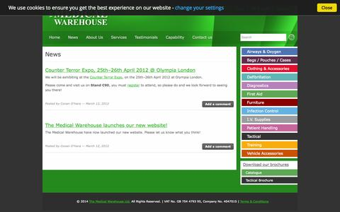 Screenshot of Press Page medicalwarehouse.co.uk - News | The Medical Warehouse Ltd. - captured Oct. 27, 2014
