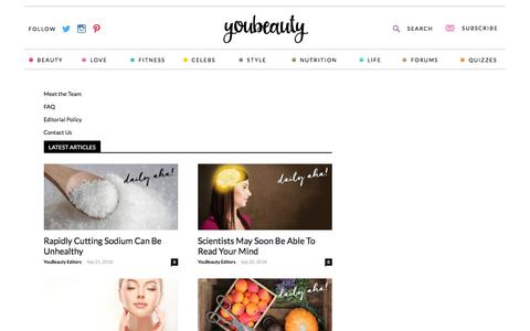 Screenshot of About Page youbeauty.com - About Us - YouBeauty - captured Sept. 21, 2018