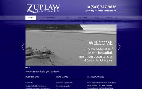 Screenshot of Home Page zuplaw.com - Zuplaw Law Firm LLC - Home - captured Feb. 23, 2016