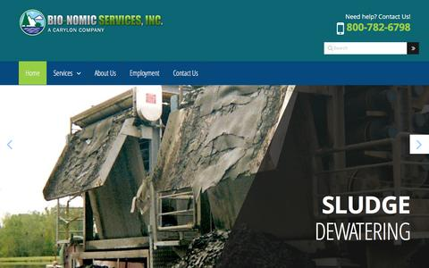 Screenshot of Home Page bio-nomic.com - Bio-Nomic Services | Environmental Cleaning and Maintenance Services for Municipalities, Industries and Utilities | Bio-Nomic Services, Inc., a Carylon Corporation Company - captured Nov. 21, 2016