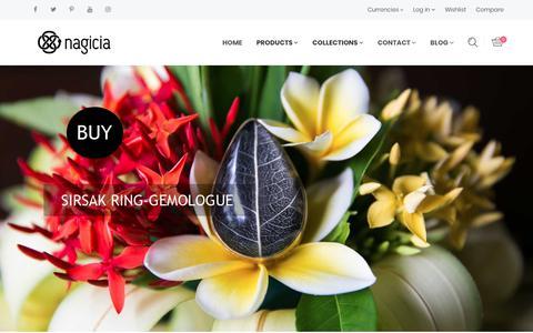 Screenshot of Home Page nagicia.com - NAGICIA - DESIGNER JEWELRY - MADE IN BALI – nagicia - captured Oct. 23, 2017