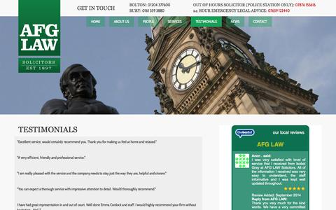 Screenshot of Testimonials Page afglaw.co.uk - Testimonials - AFG Law - captured Sept. 30, 2014