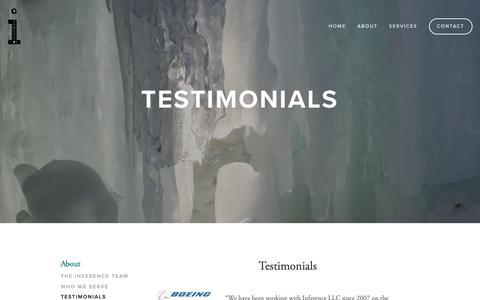 Screenshot of Testimonials Page inferencellc.com - Testimonials — Inference LLC - captured Nov. 6, 2018