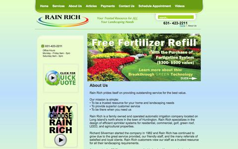 Screenshot of About Page rainrich.com - Lawn Sprinkler Companies | Install Irrigation Systems | Huntington, Long Island - captured Oct. 1, 2014