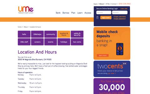 Screenshot of Hours Page umecreditunion.com - location & hours - captured July 27, 2018