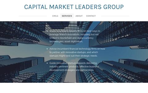 Screenshot of Services Page weebly.com - Services - Capital Market Leaders group - captured Oct. 20, 2016