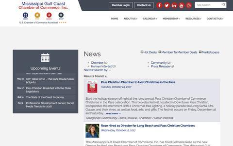 Screenshot of Press Page mscoastchamber.com - News - Mississippi Gulf Coast Chamber of Commerce, Inc., MS - captured Oct. 27, 2017