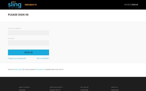 Screenshot of Login Page sling.com - Sling TV - My Account - captured March 30, 2016