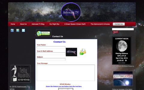 Screenshot of Contact Page astrocast.tv - Contact Us - captured Oct. 4, 2014