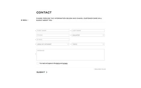 Screenshot of Contact Page chanel.com captured Oct. 28, 2014