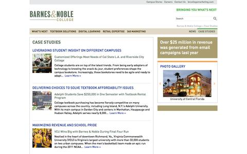 Screenshot of Case Studies Page bncollege.com - Case Studies » Barnes & Noble College - captured Sept. 18, 2014