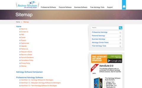 Screenshot of Site Map Page indianastrologysoftware.com - Sitemap - IndianAstrologySoftware.com - captured Jan. 14, 2016