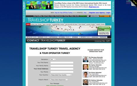 Screenshot of Contact Page travelshopturkey.com - TRAVELSHOP TURKEY - TRAVEL AGENCY TURKEY - CONTACT DETAILS - TOUR OPERATOR TURKEY - captured Nov. 4, 2014