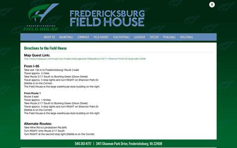 Screenshot of Maps & Directions Page fredfieldhouse.com - Directions to the Field House | Fredericksburg Field House - captured Nov. 25, 2016