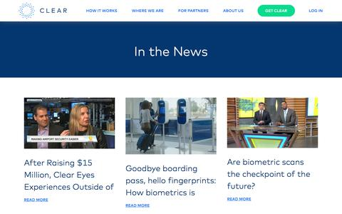 Screenshot of Press Page clearme.com - CLEAR - captured July 8, 2017
