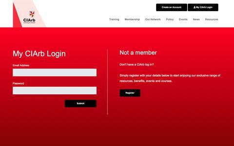 Screenshot of Login Page ciarb.org - CIArb - Log In - captured Nov. 10, 2018
