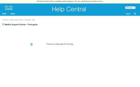 Screenshot of Support Page webex.com - WebEx Support Center - Português      ... | Cisco Cloud Collaboration Help Central - captured Jan. 9, 2017