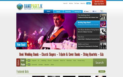 Screenshot of Home Page bandpages.ie - Wedding Bands : Church Singers : String Quartets Â« Bandpages.ie - captured Oct. 5, 2014
