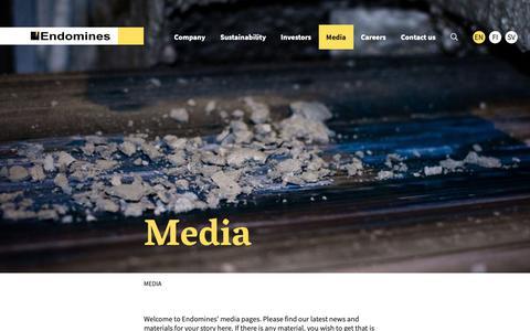 Screenshot of Press Page endomines.com - Media - Endomines - captured Sept. 28, 2018