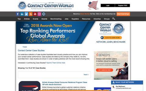 Screenshot of Case Studies Page contactcenterworld.com - Contact Center Case Studies - captured Dec. 22, 2017