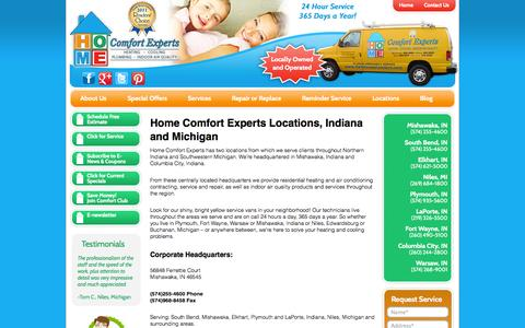 Screenshot of Locations Page homecomfortexpertsinc.com - Our Locations | Mishawaka | South Bend | Elkhart | Plymouth | Columbia City | Warsaw | Ft. Wayne | LaPorte | Indiana | Niles, Michigan | Home Comfort Experts - captured Oct. 2, 2014