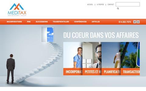 Screenshot of Home Page Menu Page meditax.ca - MediTax | - captured Oct. 3, 2014