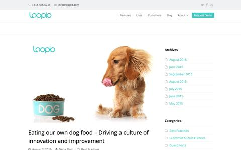 Screenshot of Blog loopio.com - Eating our own dog food - Driving a culture of innovation and improvement - Loopio: RFP Software - captured Oct. 23, 2016