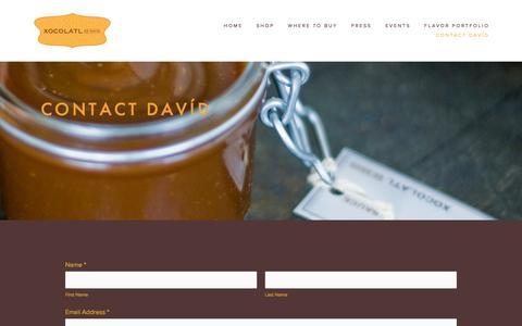 Screenshot of Contact Page squarespace.com - Contact Davíd — Xocolatl de Davíd - captured Dec. 31, 2016