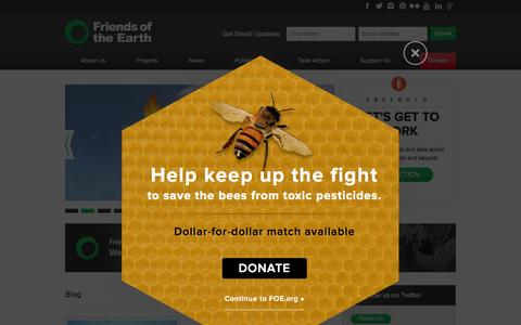 Screenshot of Home Page foe.org - Friends of the Earth - captured Oct. 1, 2015