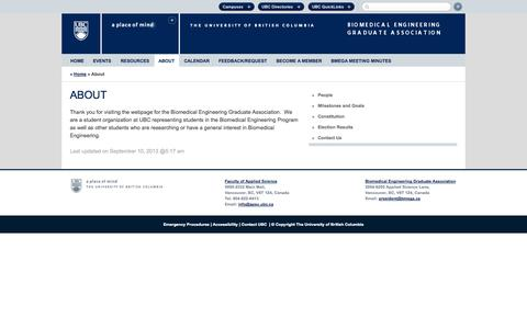 Screenshot of About Page ubc.ca - About | Biomedical Engineering Graduate Association - captured Sept. 18, 2014