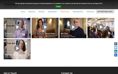 Screenshot of Testimonials Page firstcare.eu - Absence Management Case Studies | FirstCare - captured Oct. 13, 2017