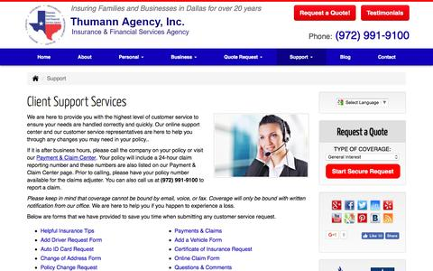 Screenshot of Support Page thumannagency.com - Thumann Agency | Client Support Services Dallas, Texas. - captured March 13, 2017