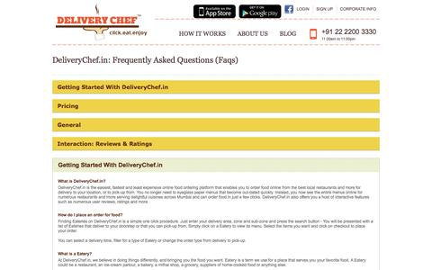 Screenshot of FAQ Page deliverychef.in - Order food online from restaurants in Pune, Delhi, Mumbai | Online food ordering & free home delivery - captured Dec. 4, 2015
