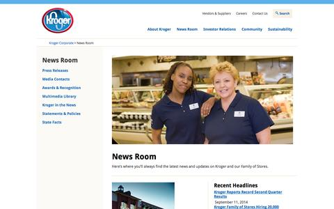Screenshot of Press Page thekrogerco.com - The Kroger Co. - News Room - captured Nov. 2, 2014