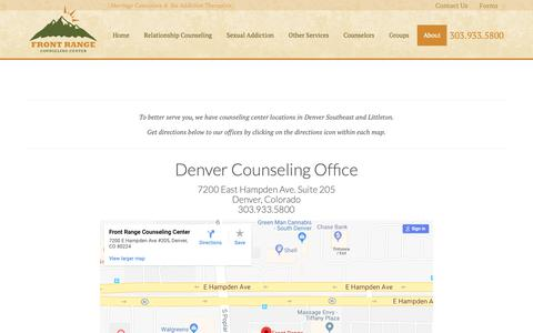 Screenshot of Locations Page frontrangecounselingcenter.com - Counseling Office Locations In Denver & Littleton Colorado - captured Nov. 6, 2018