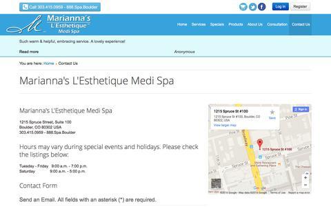 Screenshot of Contact Page mariannaskincare.com - Contact Us - Marianna's L'Esthetique Medi Spa - captured Feb. 4, 2016